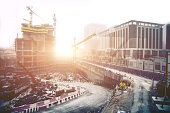 Huge cranes and construction sites in Dubai - UAE