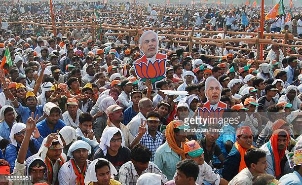 Huge crowd gathered to listen BJP Prime Ministerial candidate Chief Minister of Gujarat Narendra Modi at Vijay Shankhnad rally at Kalyanpur area on...