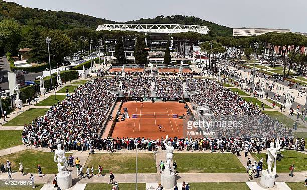 A huge crowd gathers on the Pietrangeli court to watch the Women's Third Round match between Simona Halep of Romania and Venus Williams of USA on Day...