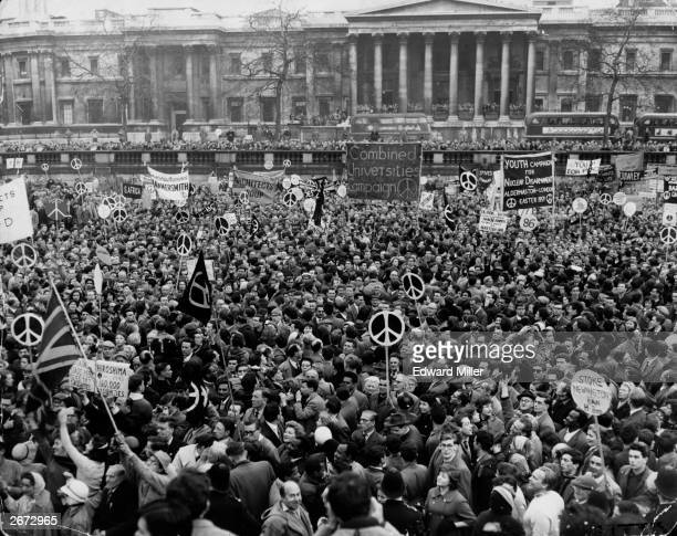 A huge crowd of CND supporters in Trafalgar Square after their Easter march from Aldermaston to London