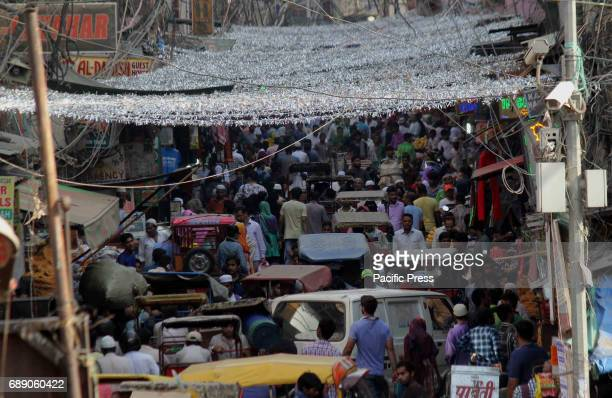 Huge crowd of Indian Muslims on the eve of holy month of Ramadan at Jama masjid market in new Delhi