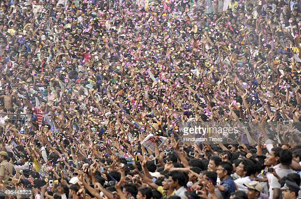 Huge crowd of KKR fans cheering team the during felicitation ceremony of the IPL champions Kolkata Knight Riders on June 3 2014 in Kolkata India