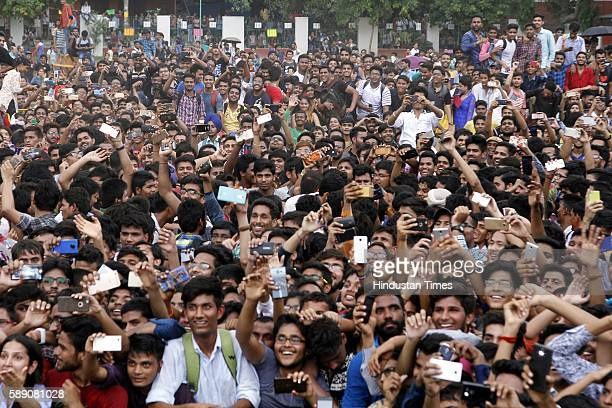 Huge crowd of students gather to get a glimpse of Indian Bollywood actors Akshay Kumar Ileana D'Cruz Arjan Bajwa and Esha Gupta while they were...