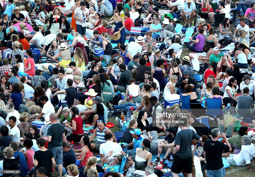 Huge crowds still turned out on opening day of the Sydney Festival January 5, 2013 in Sydney, Australia. Sydney festival opening, previously 'Sydney Festival First Night', was scaled back from previous years, when crowds reached as many as 60,000 for the launch.