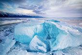Photo taken on a frozen Lake Baikal in Russia