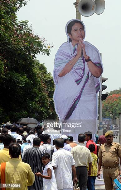 Huge cutout of West Bengal Chief Minister Mamata Banerjee put at Red Road by supporters during her oath taking ceremony on May 27 2016 in Kolkata...