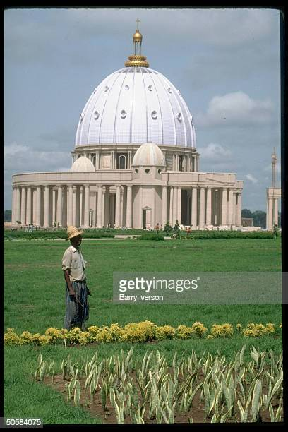 Huge domed Our Lady of Peace Basilica being built for $2 million pet project of Pres HouphouetBoigny a Catholic convert