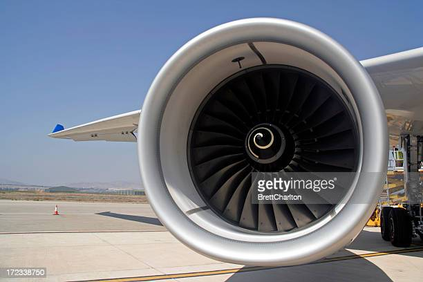 Huge engine of an aircraft on a runway