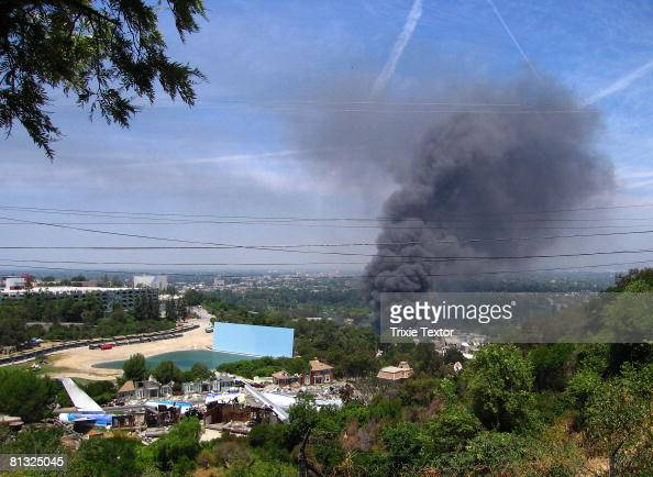 A huge fire on the backlot of Universal Studios burns in the Hollywood Hills on June 1 2008 in Universal City California The fire is still burning...