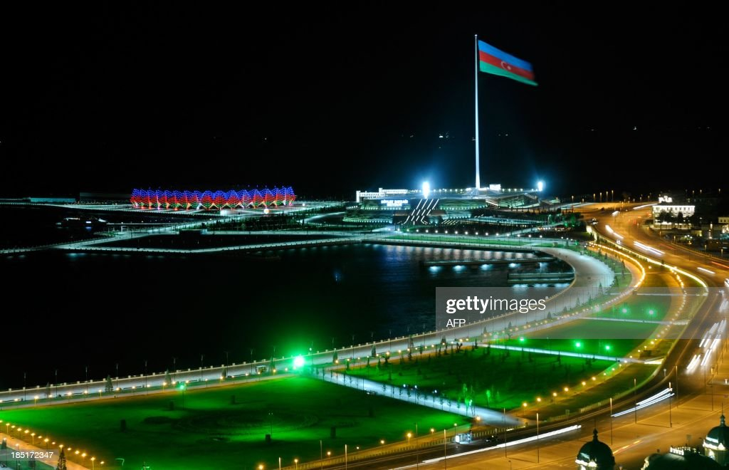 A huge flagpole with Azerbaijani flag rises in Baku, the capital of Azerbaijan, early on October 18, 2013. Azerbaijan celebrated today the 22 anniversary of the nation's independence which was gained after the collapse of the Soviet Union.