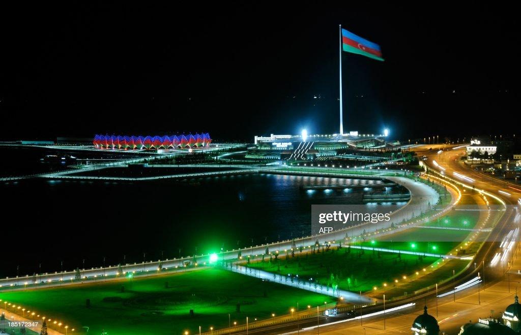 A huge flagpole with Azerbaijani flag rises in Baku the capital of Azerbaijan early on October 18 2013 Azerbaijan celebrated today the 22 anniversary...