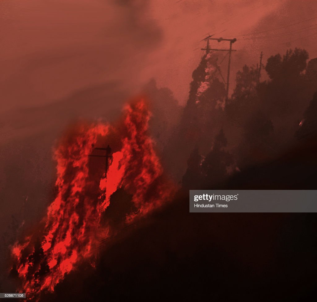 Huge flames engulfing the forest at Mandakhal near Pauri, on May 1, 2016 in Uttarakhand, India. Two Indian Air Force (IAF) choppers began spraying water over the burning forests in Uttarakhand on Sunday morning. Major forest fires raged across Uttarakhand even as two Indian Air Force (IAF) choppers have begun spraying water to extinguish the flames. Presently, some 5,000 workers -- including 3,000 daily wagers -- are engaged in putting out the fire. More than 2300 hectares of forest have been gutted in the fire since it was first reported in February this year. Dry winters and soaring temperatures are blamed for the fire that has affected all 13 districts of the state.
