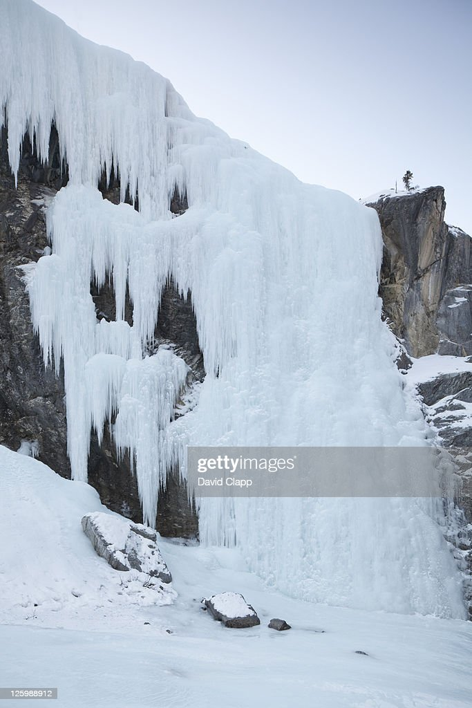 Huge frozen waterfall in Cline Canyon, Canadian Rockies, Alberta, Canada : Stock Photo