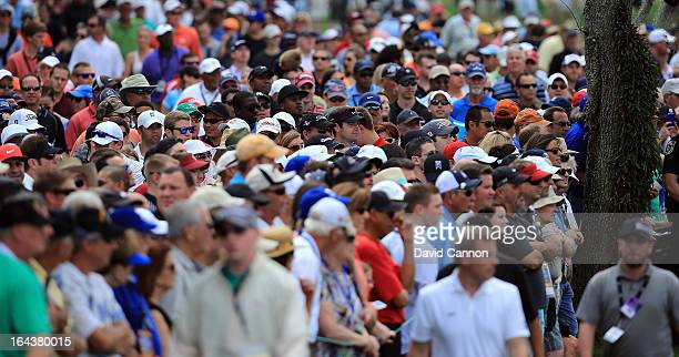 Huge galleries following Tiger Woods during the third round of the 2013 Arnold Palmer Invitational Presented by Mastercard at Bay Hill Golf and...
