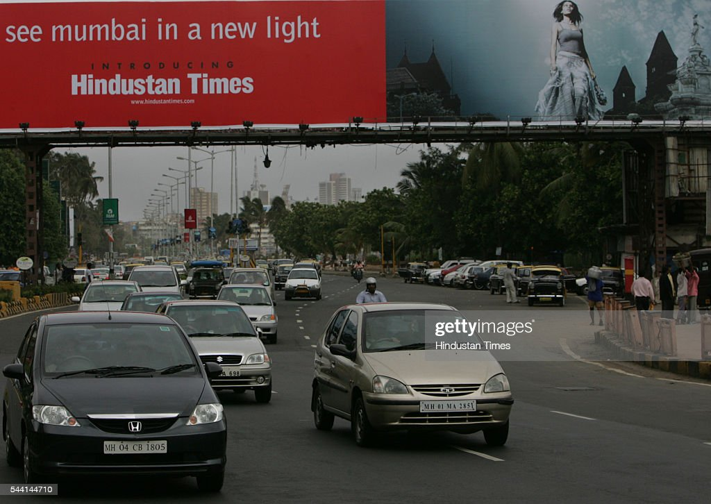 Huge hoarding at Marine Drive announcing Hindustan Times arrival.