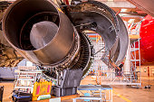 Huge jet engine in service. It is engine of wide body aircraft (A330).
