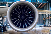 Large jet engine of wide body aircraft (Boeing 787).