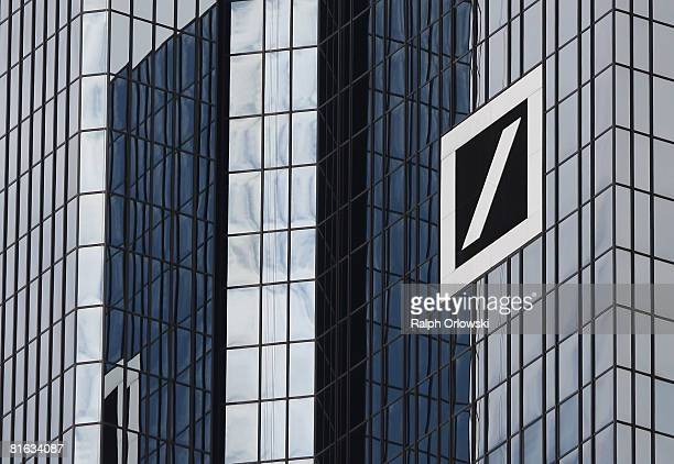 A huge logo of Deutsche Bank AG is pictured at their headquarters on June 19 2008 in Frankfurt Germany Today the shares of Deutsche Bank fell by 15...