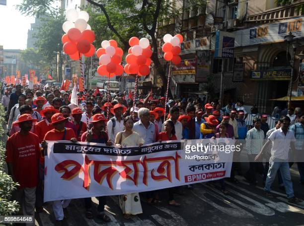 Huge number of Left front activists with its outfits under the banner of Bengal Platform for Mass Organisations participates in a protest rally...