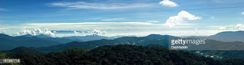 Huge panorama view over mountains of Cameron Highlands in Malaysia : Stock Photo