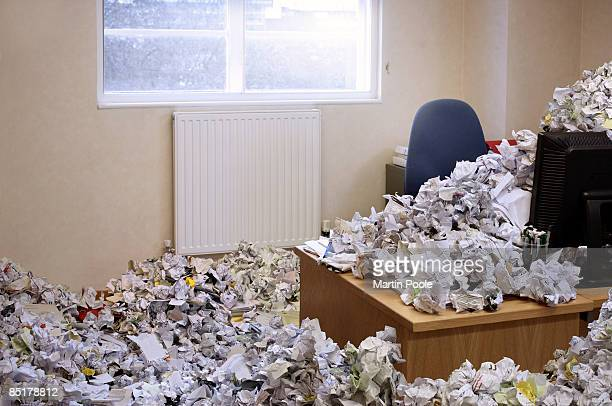 huge pile of rubbish covering office