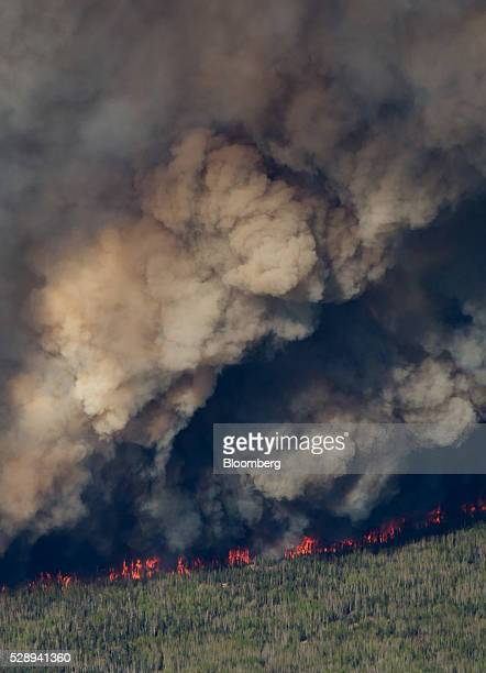 A huge plume of smoke from wildfires burning rises over Fort McMurray in this aerial photograph taken in Alberta Canada on Friday May 6 2016 The...