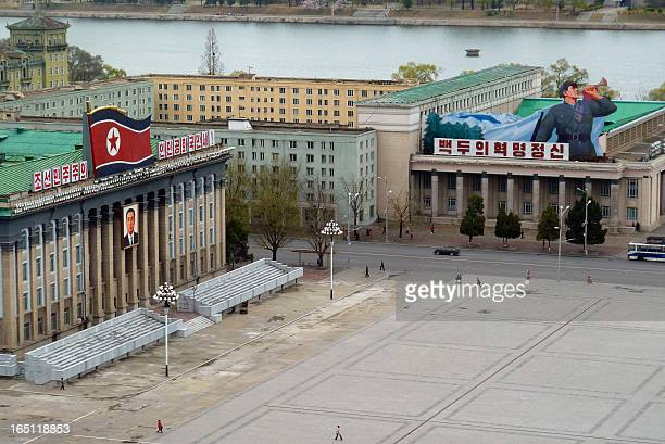 Huge propaganda posters and a flag dominate the buildings surrounding Kim IlSung Square in central Pyongyang the capital of North Korea in April 2011...