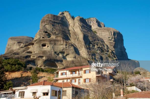 Huge rock mountain behind houses of Kalambaka.