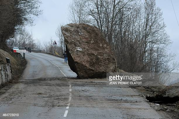 A huge rock that fell on February 27 onto the RD117 road leading to the ski resorts of Moutiers Les Menuires and Val Thorens in the Tarentaise valley...