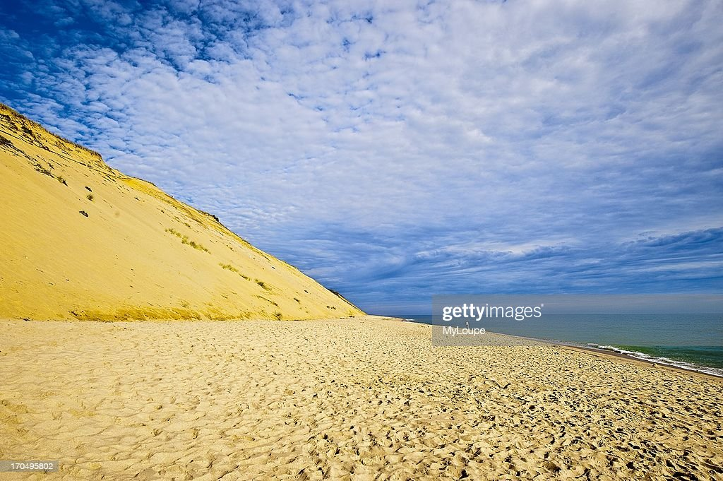 Huge sand dune cliffs and deserted beach Long Nook Beach Cape Cod National Seashore Truro Cape Cod MA Massachusetts United States
