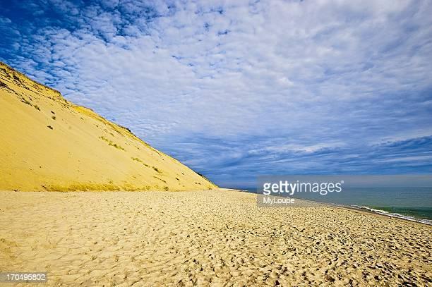 Huge sand dune cliffs and deserted beach Long Nook Beach Cape Cod National Seashore Truro Cape Cod MA Massachusetts United States