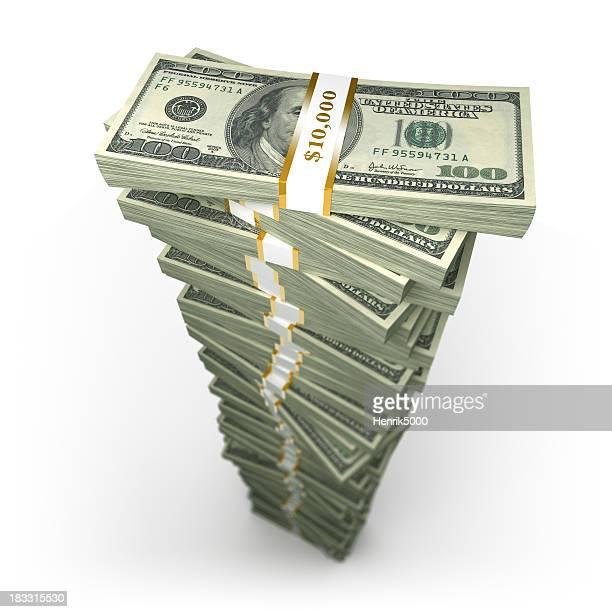 Großen Stapel von 100,-US-Dollar-Scheine, die isoliert mit clipping path