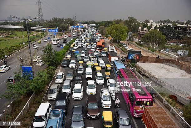 Huge traffic jam at Sarai Kale Khan due to the Art of Living foundation's 3daylong World Culture Festival on March 11 2016 in New Delhi India With...