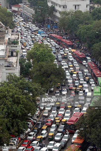 Huge traffic jam near Connaught Place in New Delhi as traffic signals stopped functioning following a massive power failure at northern grid on...
