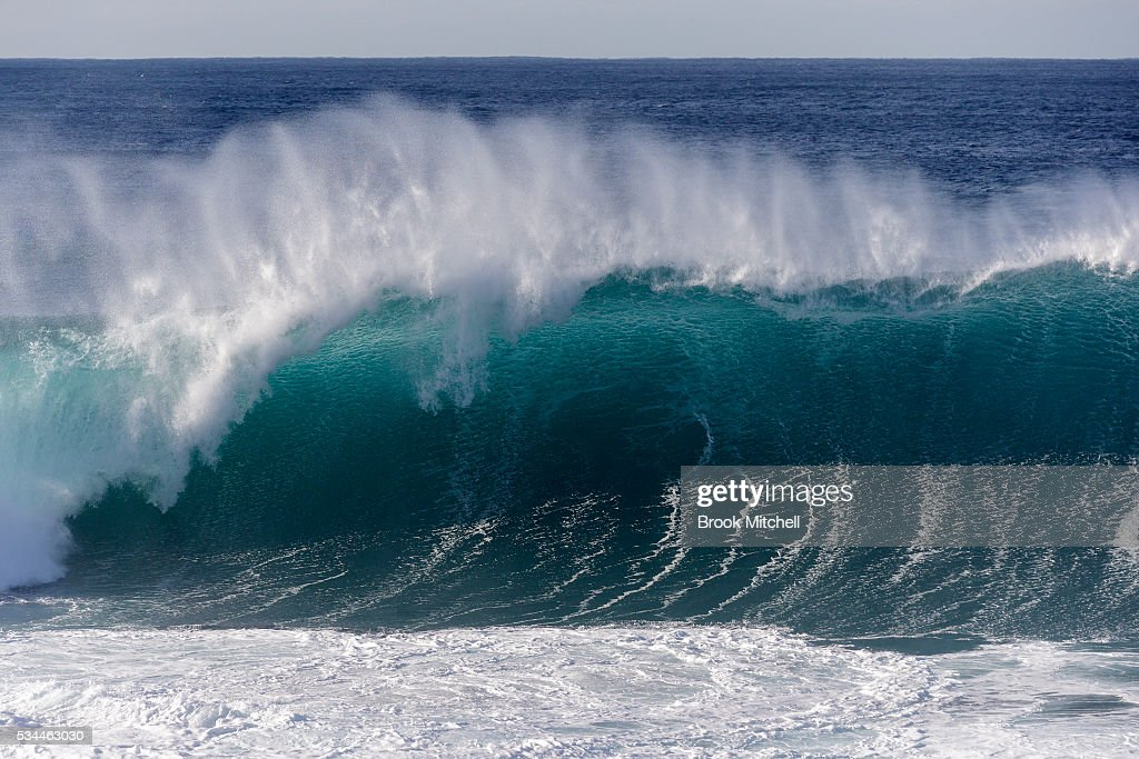 A huge wave breaks at Tamarama on May 25, 2016 in Sydney, Australia. All Sydney beaches were closed to swimmers today as large waves pounded the coast.