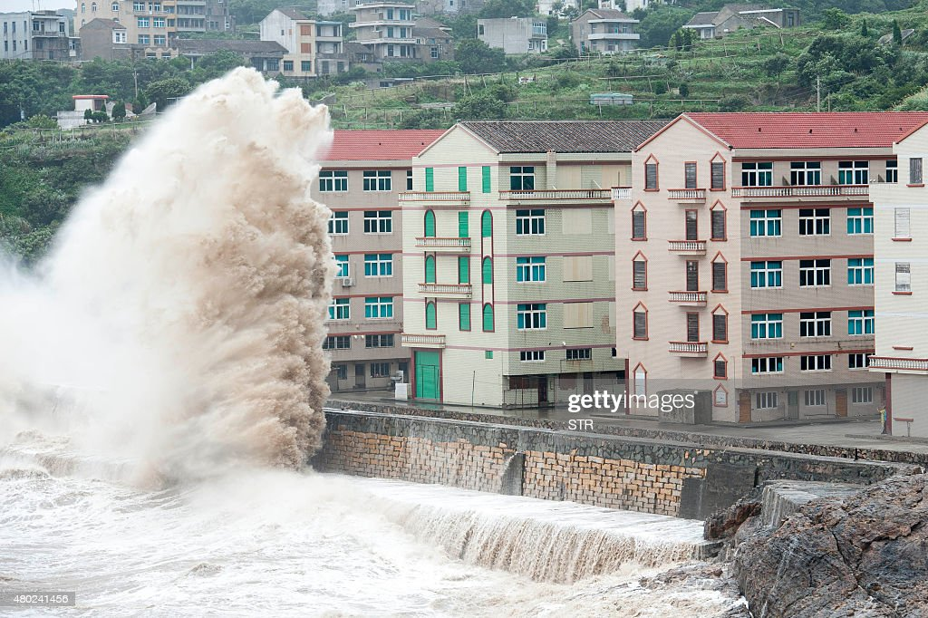 Huge waves are seen as typhoon Chanhom comes near Wenling east China's Zhejiang province on July 10 2015 Typhoon Chanhom lashed Japan's Okinawa...