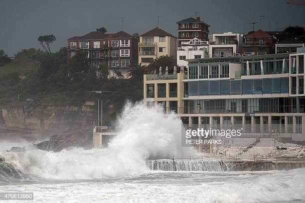 Huge waves are seen in Sydney's Bondi Beach as the city battles cyclonic wind gusts and nonstop downpours on April 22 2015 Heavy rain and high winds...