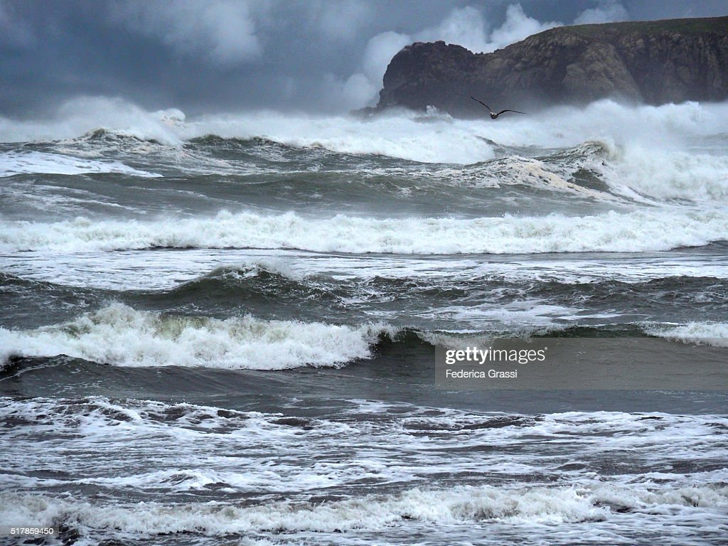 Huge Waves Crashing Against The Shore At Meyers Beach South, Oregon