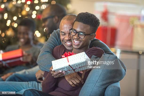 Hugging on Christmas