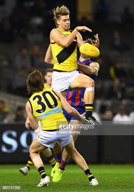 Hugh Beasley of Richmond marks during the VFL Grand Final match between Richmond and Port Melbourne at Etihad Stadium on September 24 2017 in...