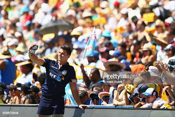 Hugh Blake of Scotland poses for a selfie with the crowd after the 2016 Sydney Sevens bowl semi final match between Scotland and Canada at Allianz...