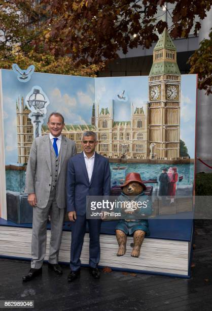 Hugh Bonneville and Sadiq Khan attend the Paddington's PopUp London launch at More London on October 19 2017 in London England