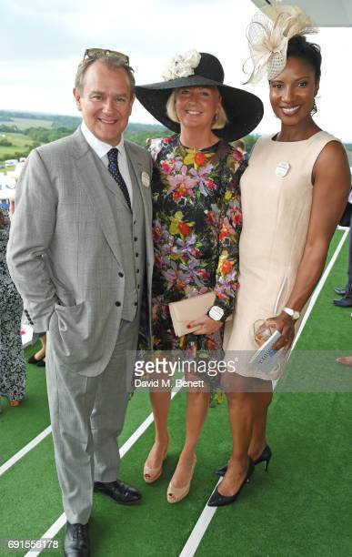 Hugh Bonneville Lulu Williams and Denise Lewis attend Ladies Day of the 2017 Investec Derby Festival at The Jockey Club's Epsom Downs Racecourse at...