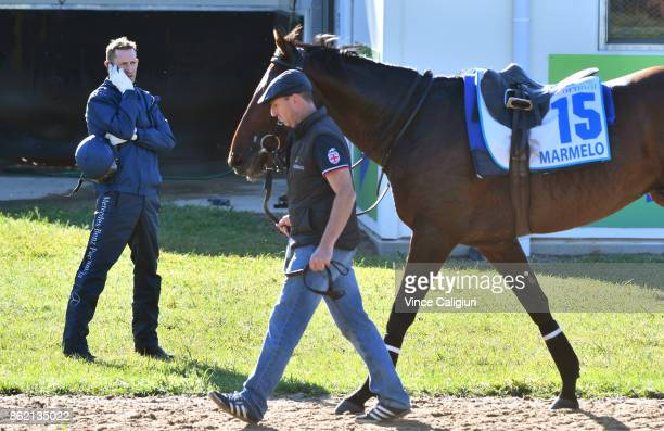 Hugh Bowman is seen talking on the phone after riding Marmelo during track gallop at Werribee Racecourse on October 17 2017 in Melbourne Australia