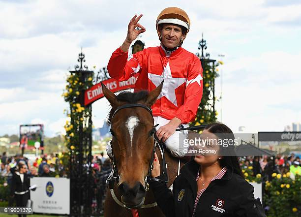 Hugh Bowman returns to scale after riding Artistry to win race 10 the Hong Kong Jockey Club Stakes on Melbourne Cup Day at Flemington Racecourse on...
