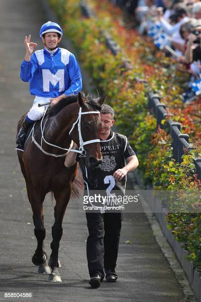 Hugh Bowman returns to scale after riding Winx to win the Seppelt Turnbull Stakes during Turnbull Stakes Day at Flemington Racecourse on October 7...