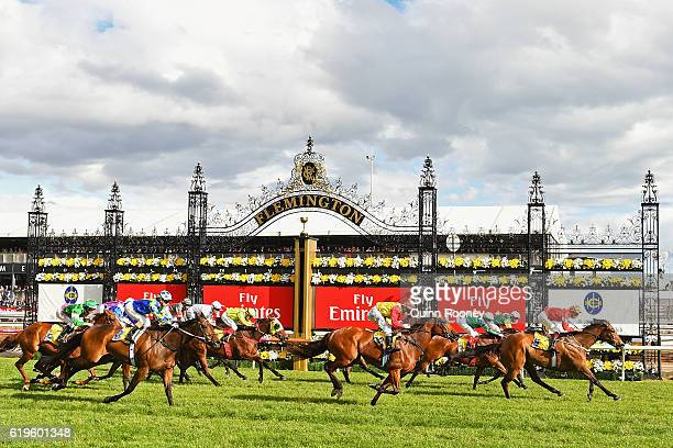 Hugh Bowman rides Artistry to win race 10 the Hong Kong Jockey Club Stakes on Melbourne Cup Day at Flemington Racecourse on November 1 2016 in...