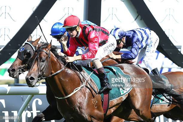 Hugh Bowman rides Hallowed Crown to win race 6 The Randwick Guineas during Sydney Racing at Royal Randwick Racecourse on March 7 2015 in Sydney...