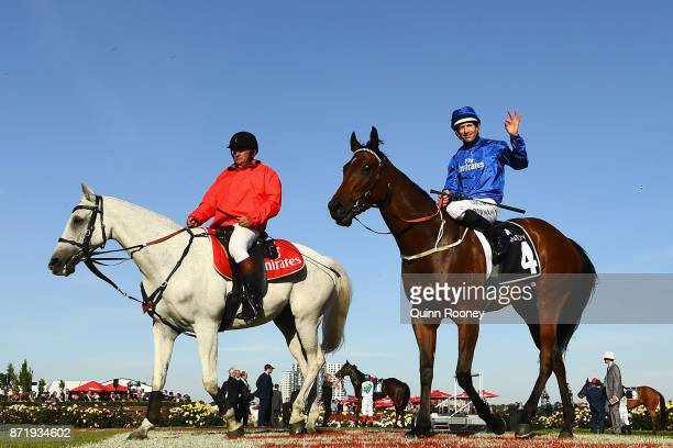 Hugh Bowman rides Jorda returns to scale after winning race 9 the Kennedy Plate on 2017 Oaks Day at Flemington Racecourse on November 9 2017 in...
