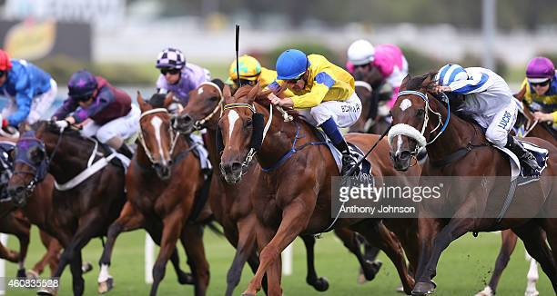 Hugh Bowman rides Montiro during Sydney racing at Royal Randwick Racecourse on December 26 2014 in Sydney Australia
